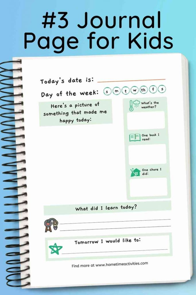 Journaling for Kids - printable template