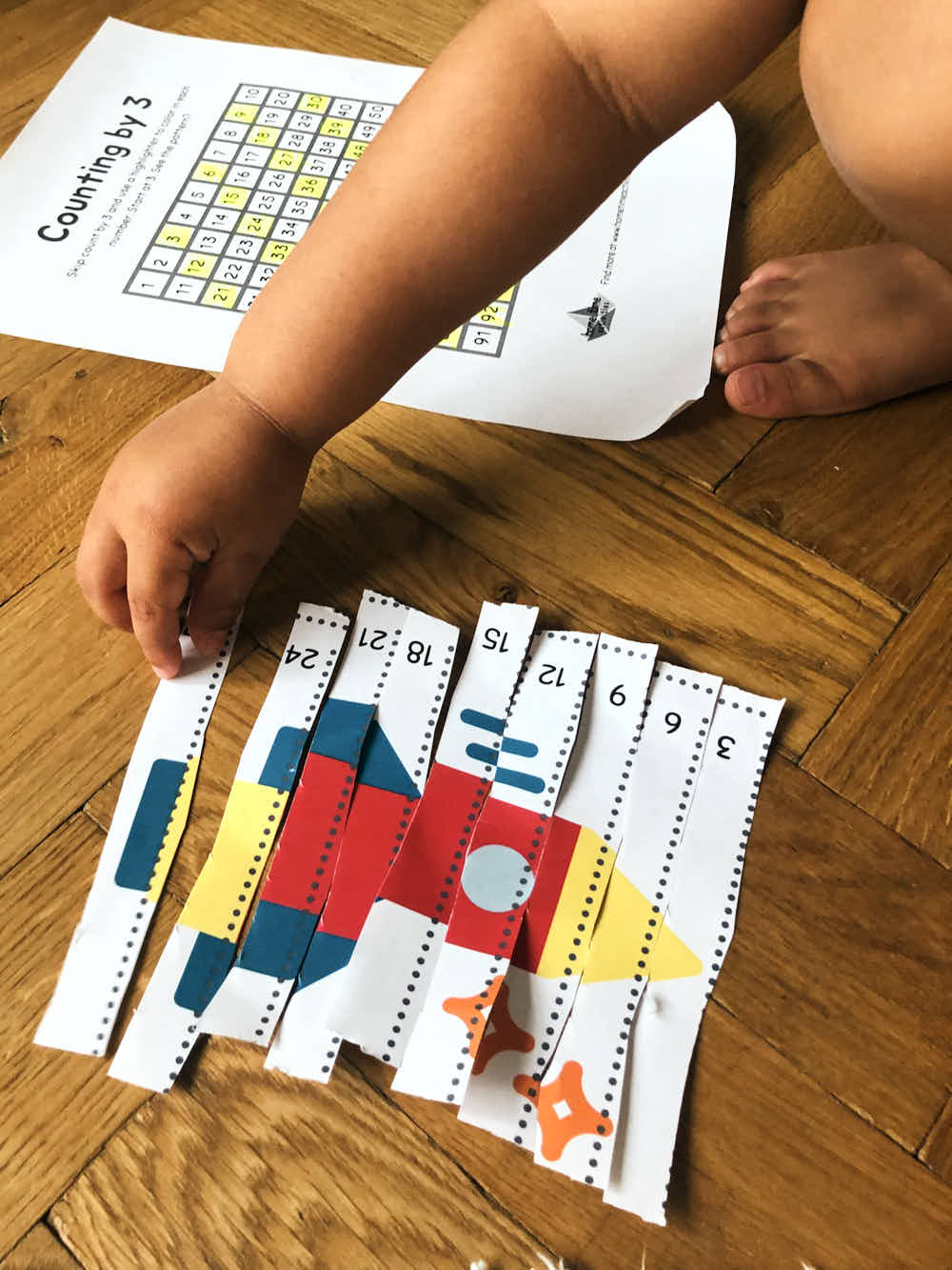 Counting by three puzzle finished - printable