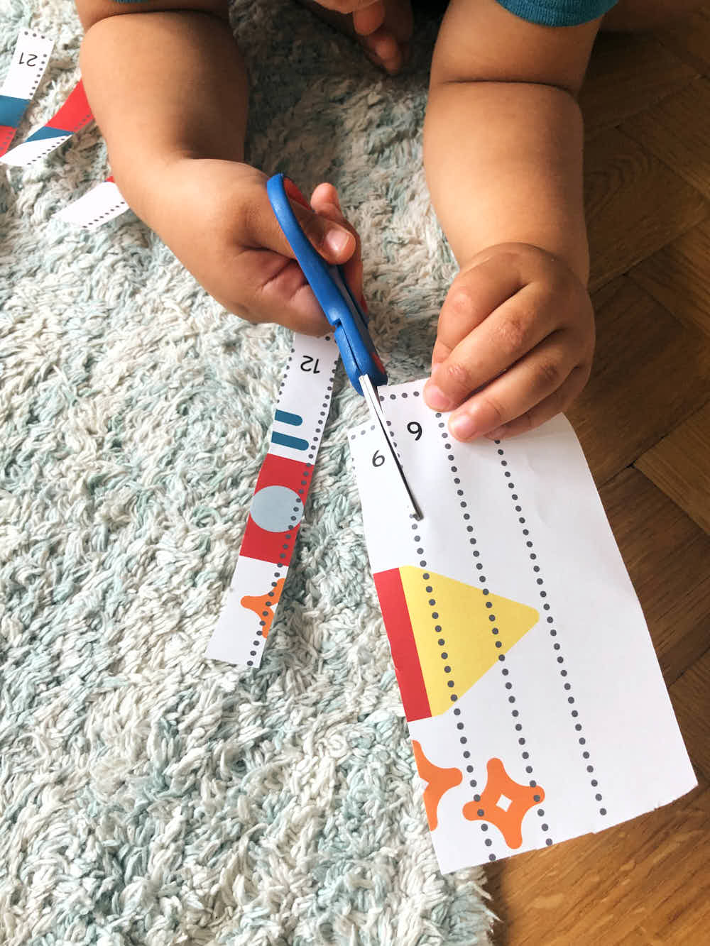 Counting by three puzzle cutting - printable