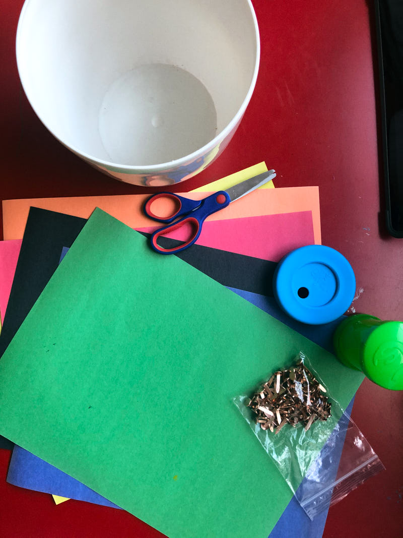 Supplies needed for layers of the Earth kids craft