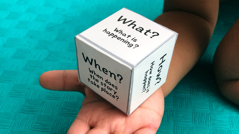 The Five W questions on a cube for a story activity