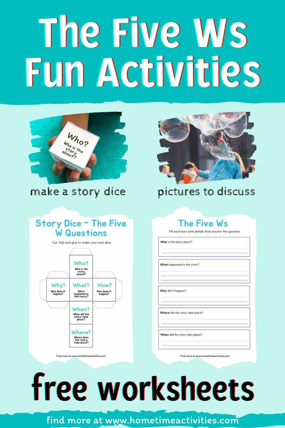The Five Ws - Fun Activities for Kids with Free Worksheets - Pinterest collage to show the activities