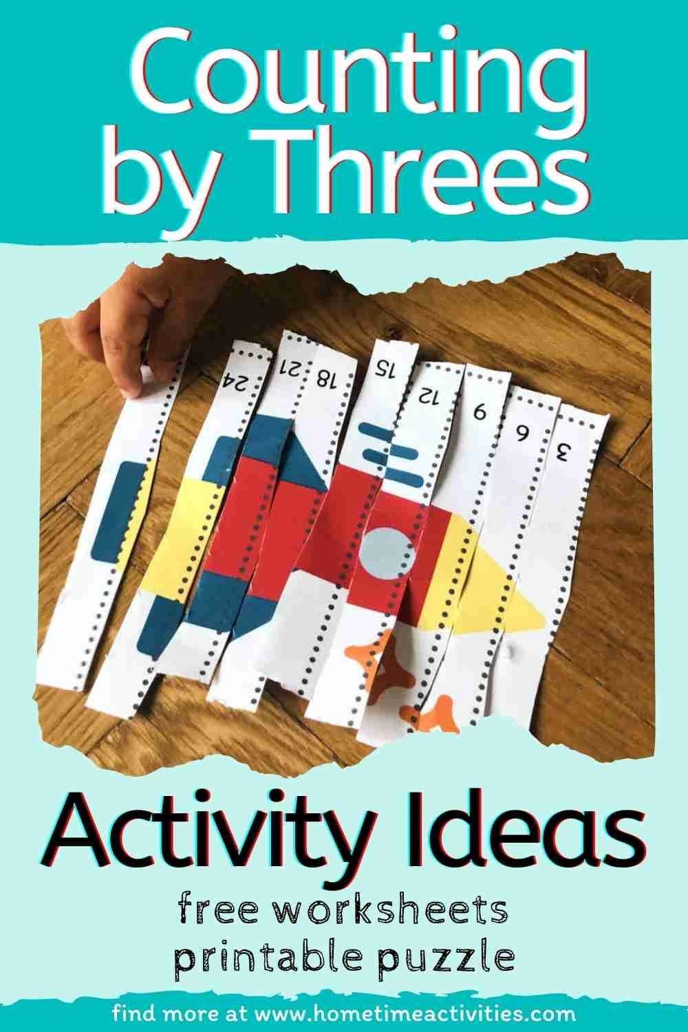 Counting by Threes - Fun activity ideas to help kids learn - image with text