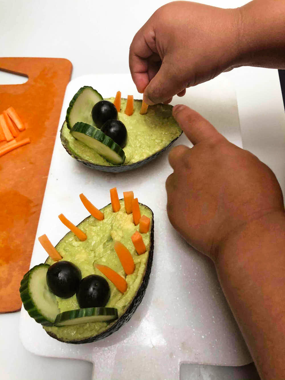Cute Kids Food - Healthy Veggie Dip Crocodile being made and assembled with carrot teeth.