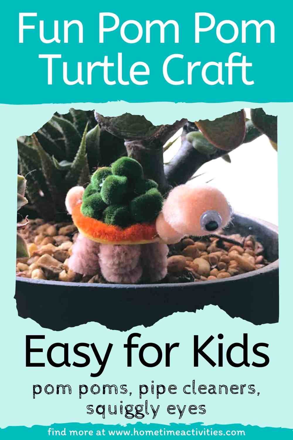 Cute Pom Pom Craft for Kids - Easy Turtle - with text showing finished turtle - This activity is for kids to learn about reptiles