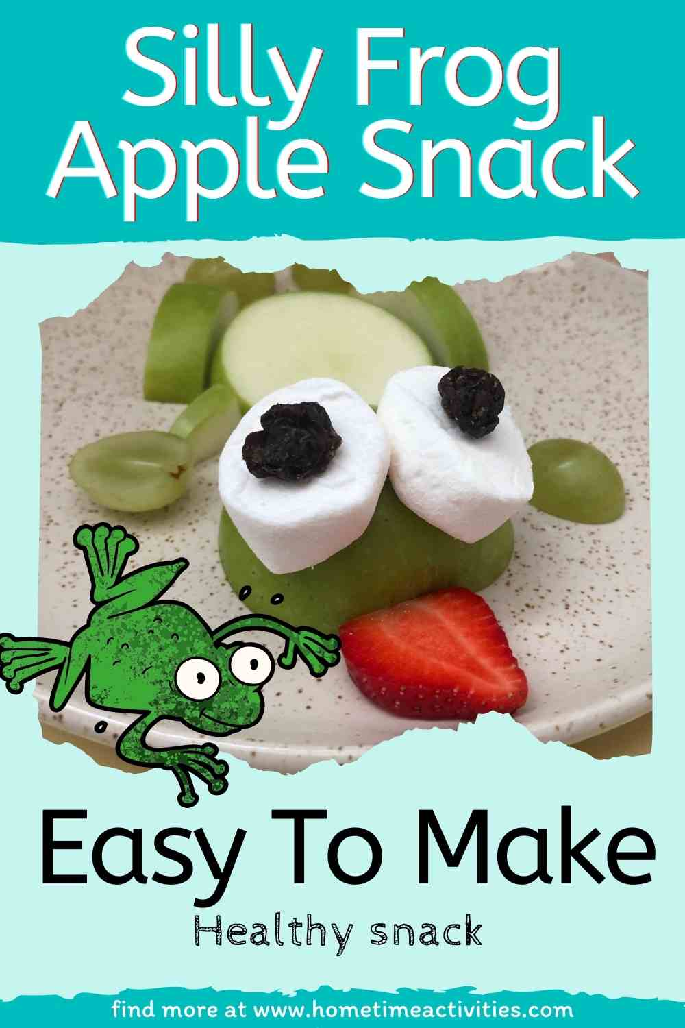 Frog snack made with apples and fruit for kids