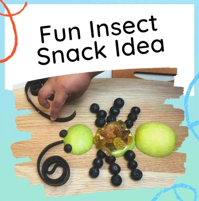 Fun insect themed snack idea - image with kid making the snack and text