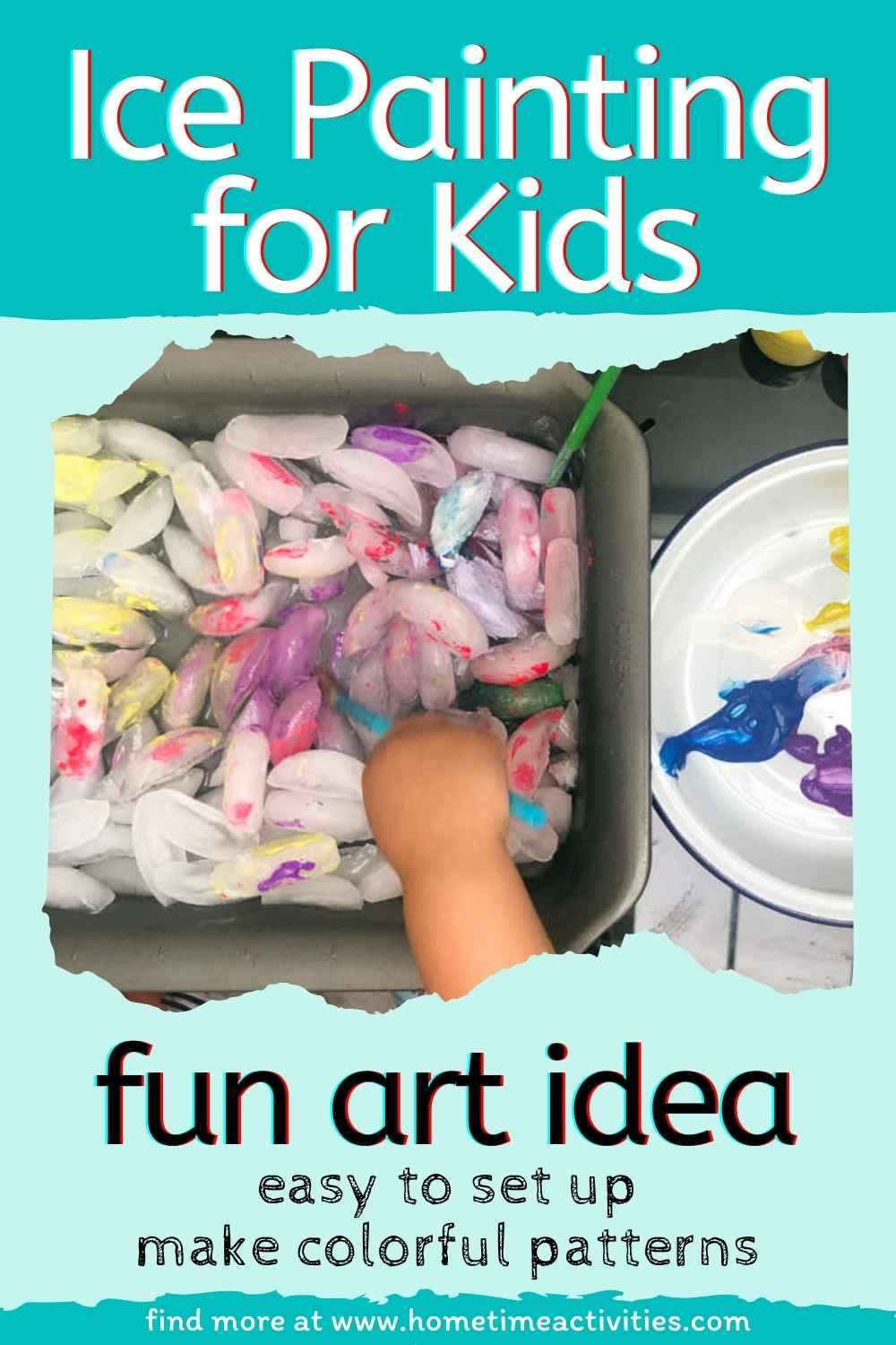 Ice Painting for Kids - washable paint and ice cubes - feature image