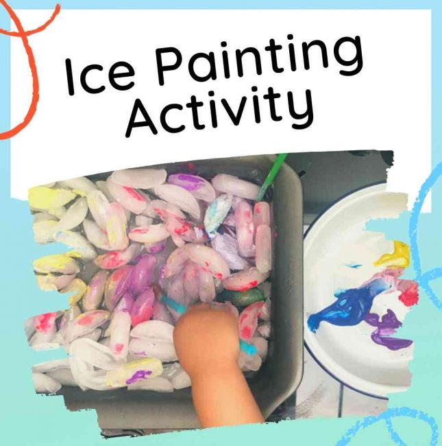 Ice Painting - using ice cubes - Feature image with text