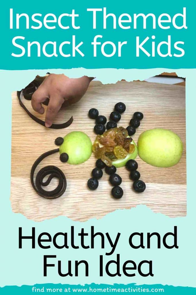 Insect themed snack for kids - text with image of the final bug snack