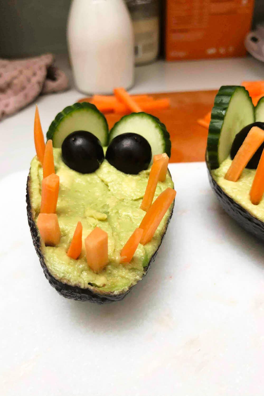 Cute animal shaped food - a crocodile veggie dip - finished to serve