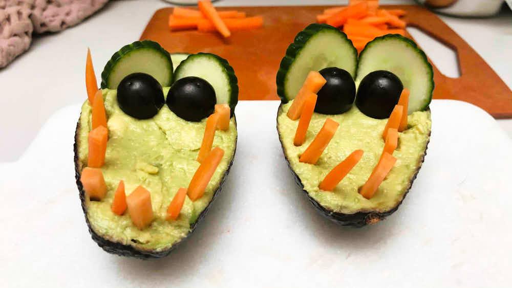 Kids Veggie Dip in Crocodile shape - two finished cute crocodiles