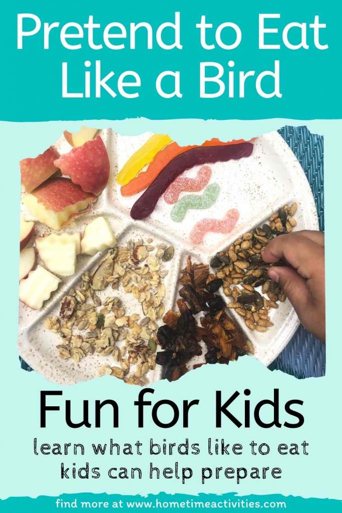 Eating what birds eat for a picnic idea - fun educational activity for kids