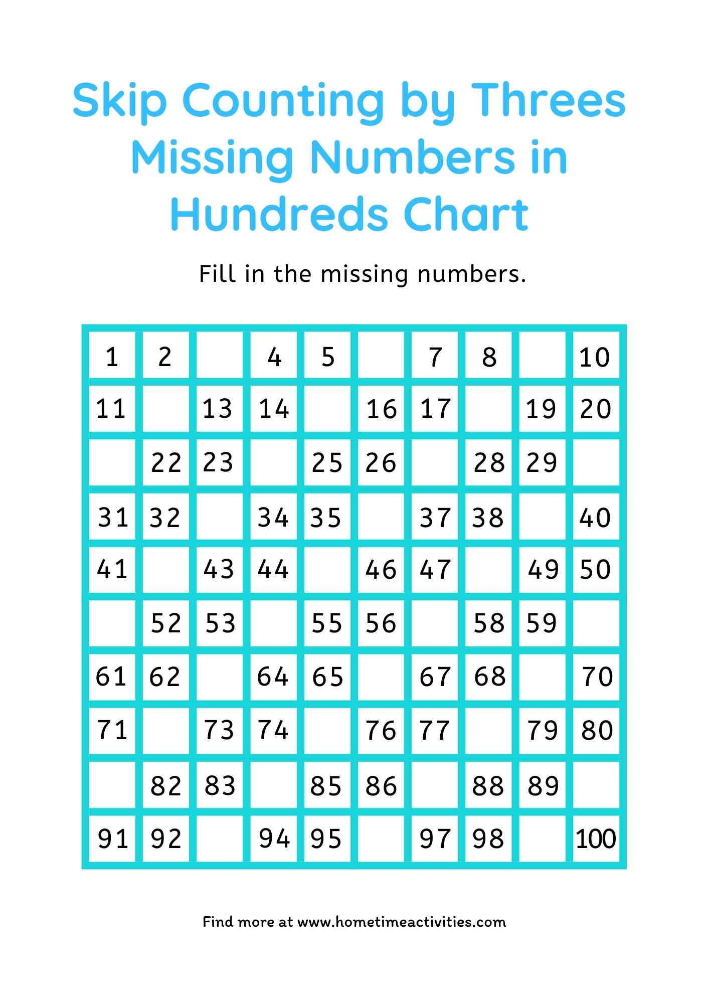 Skip Count by 3 - fill in hundreds chart - free worksheet