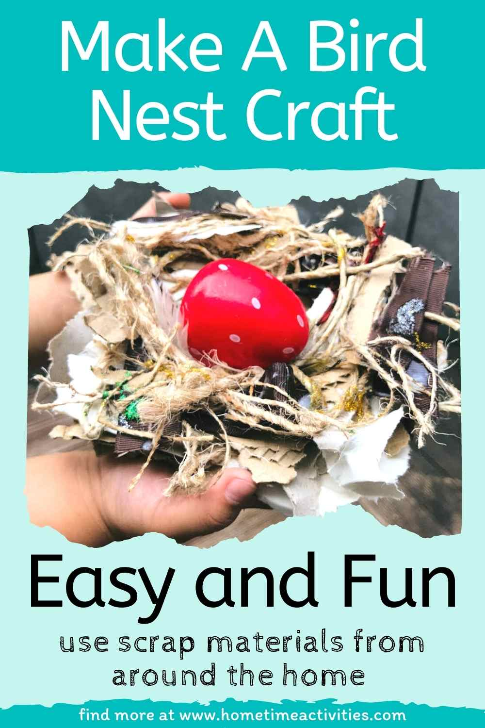 Bird nest craft idea for kids, preschoolers and toddlers - image with text