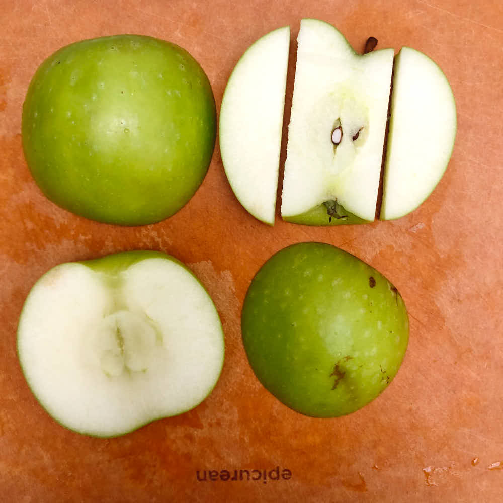 Apples cut for frog snack