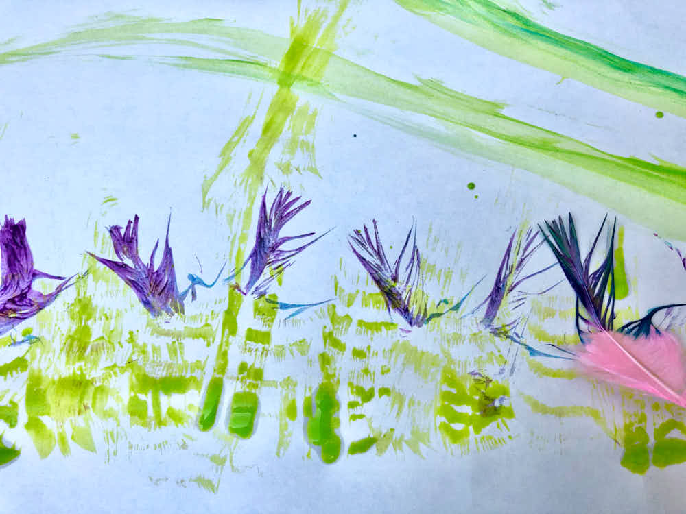 Feather painting kids artwork - flowers and grass
