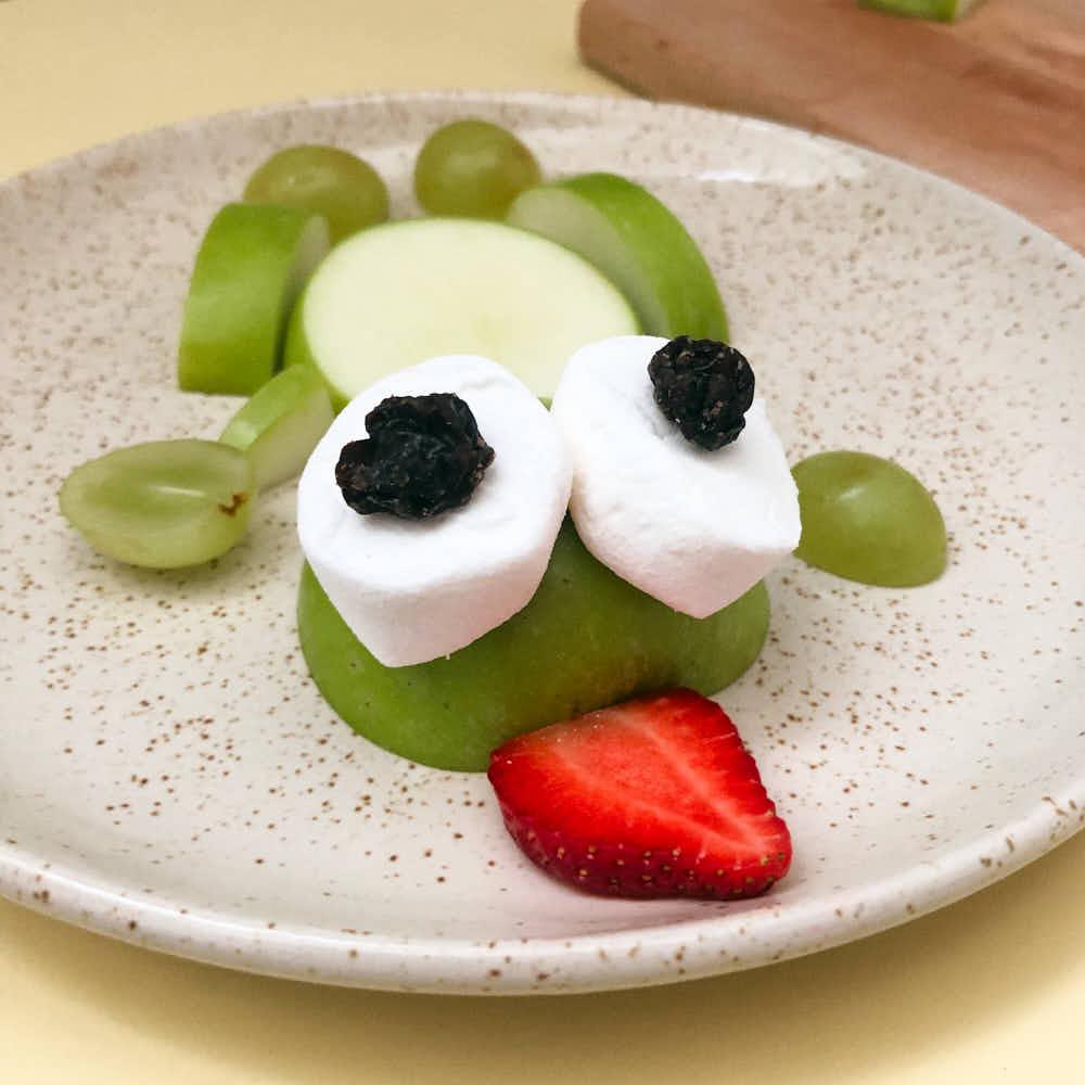 frog apple snack for kids on plate