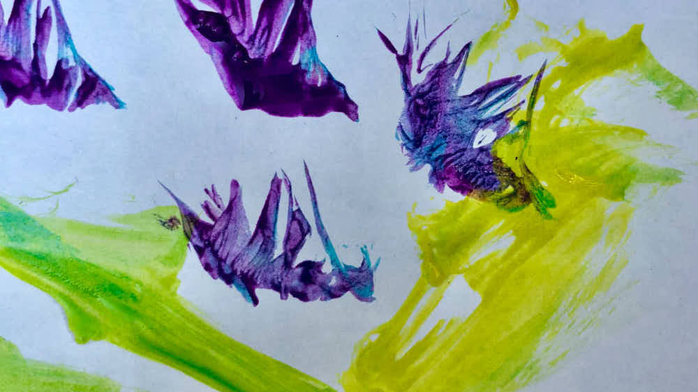 feather painting with kids - fun textures