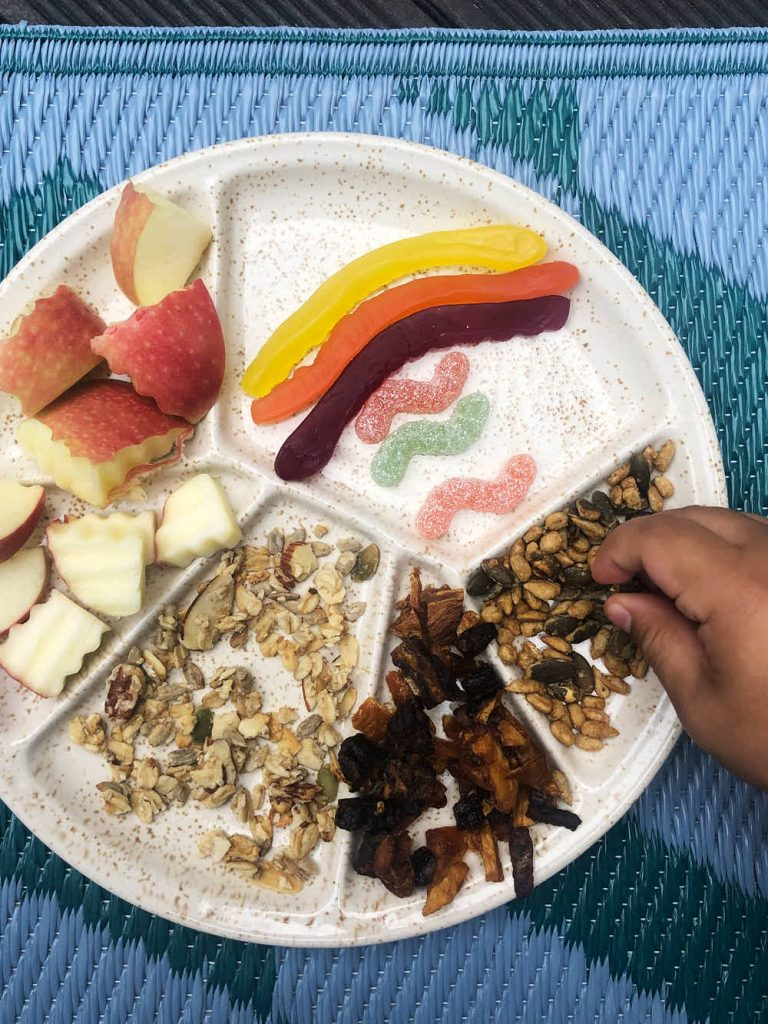 Our pretend picnic to eat like a bird - nuts, fruits and seeds