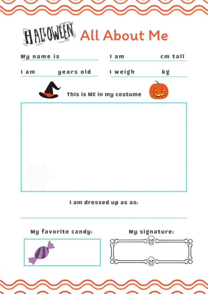 Printable Halloween Worksheet - All About Me for Kids