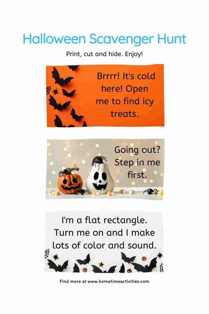 Halloween Scavenger Hunt Kids - Free Printable Clues