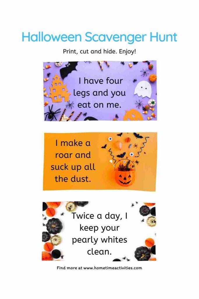 Halloween Scavenger Hunt Idea for Kids - Printable Clues