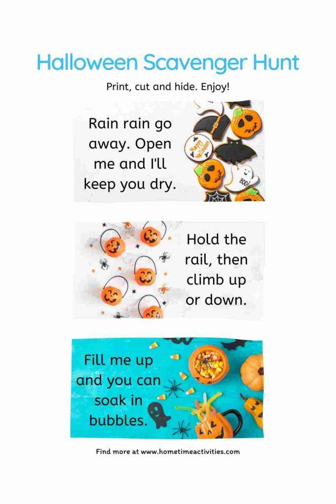 Kids Halloween Scavenger Hunt Clues - Free printables