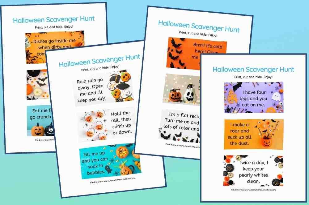 Halloween Scavenger Hunt Kids Ideas - Free Printables Clues